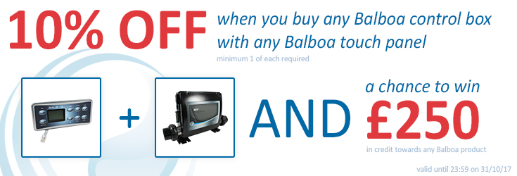10% off Balboa control boxes and touch panels